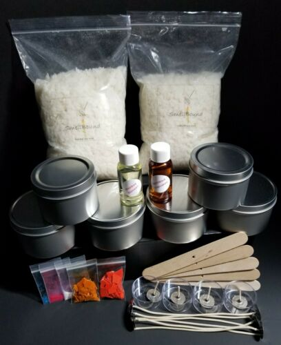 "Creative DIY ""Medium"" Soy Wax Candle Making Kit - wax*wicks*color*fragrance*tins"