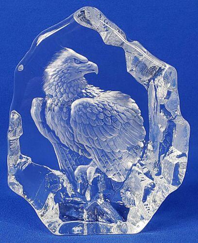 "Mats Jonasson Signed Eagle Crystal Art Piece Sweden 5.5"" Tall"