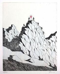 PAUL-FLORA-ORIGINAL-RADIERUNG-HANDKOLORIERT-034-Gipfelstuermer-034
