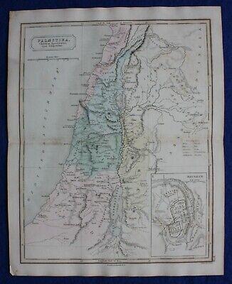 ANCIENT PALESTINE, SAMARIA, JUDAEA, JERUSALEM, original antique map, Butler 1851