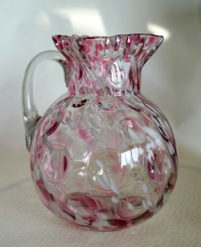 Large Antique Hobbs Victorian Pink White Spatter Glass Water Pitcher