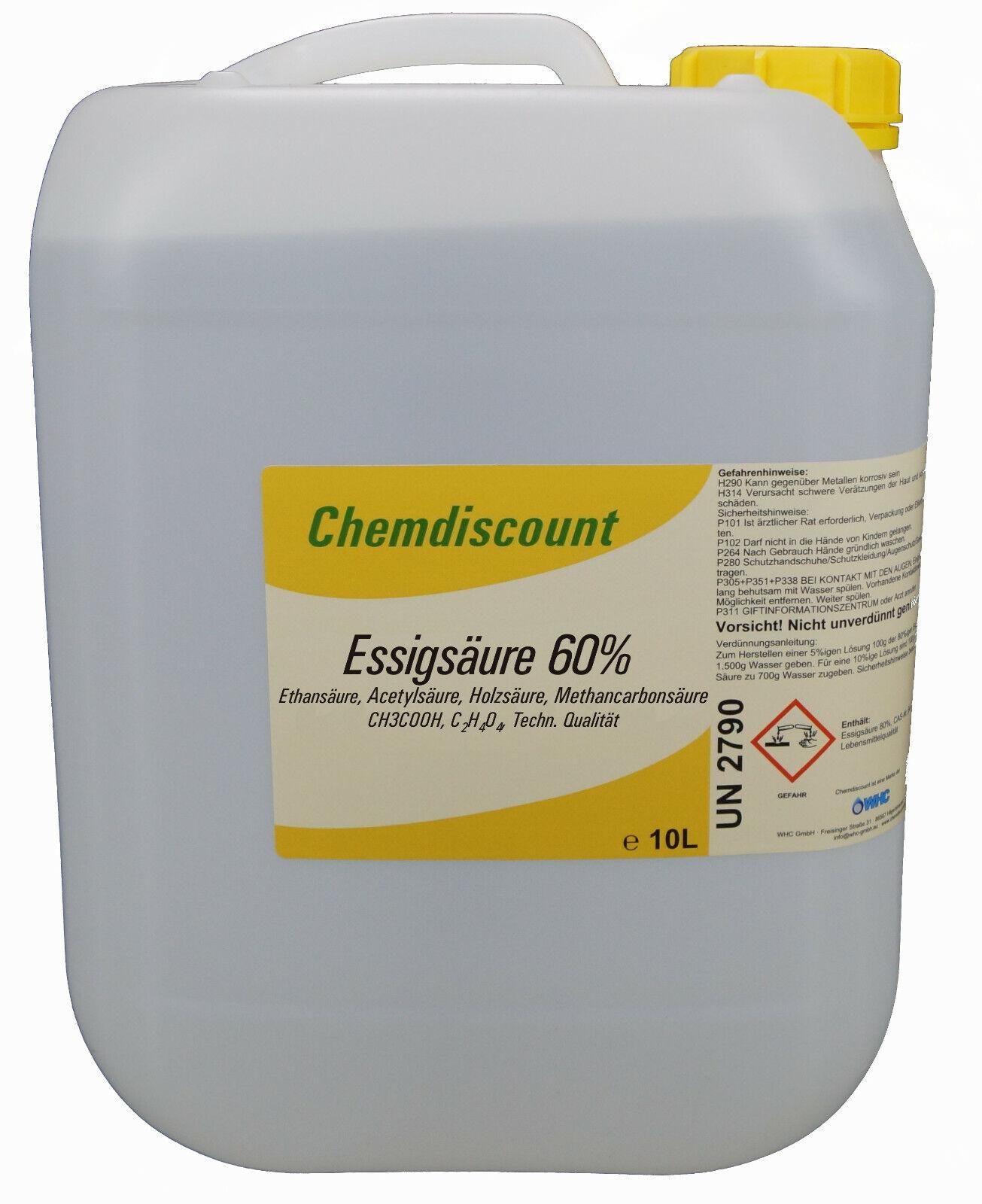 10Liter (ca. 10,7kg) Essigsäure 60%,  techn. Qualität