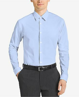 $185 CALVIN KLEIN Men SLIM-FIT BLUE NON-IRON LONG-SLEEVE DRESS SHIRT 15 32/33 M