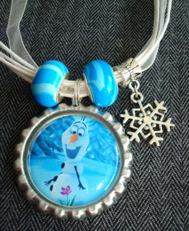 White Organza Ribbon Necklace Bottle Cap Frozen Snowman Olaf Snowflake Charm