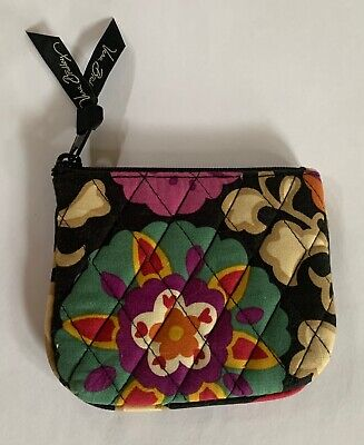 Vera Bradley Lined Cosmetic Bag with Zipper Closure NWOT Black Floral Suzani