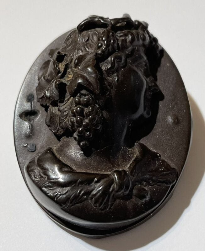 ANTIQUE VICTORIAN CARVED DIMENSIONAL BOG OAK BACCHANTE CAMEO PIN BROOCH