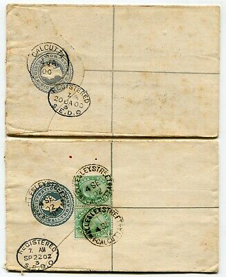 India 1886 2a postal stationery registered envelopes x2 both used to London
