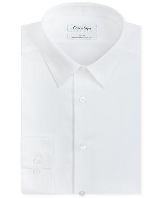 $175 CALVIN KLEIN Men SLIM-FIT WHITE LONG-SLEEVE BUTTON DRESS SHIRT 15.5 32/33 M