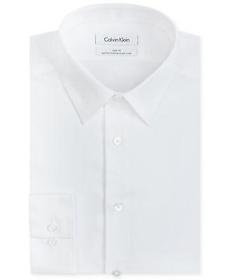 $99 CALVIN KLEIN Men SLIM-FIT WHITE LONG-SLEEVE BUTTON DRESS SHIRT SIZE 17 34/35