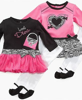 Baby Essentials Dress & Matching Tights with Faux Mary Jane Footies ~ NWT