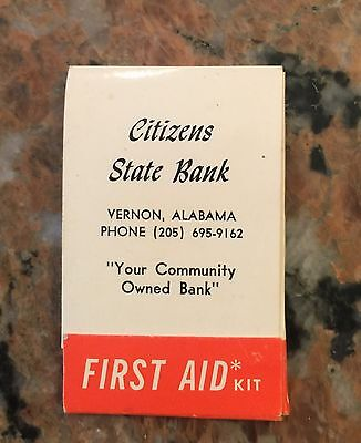 Vintage Citizens State Bank First Aide Kit Vernon Alabama
