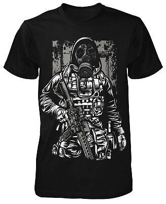 Gas Mask Soldier T-Shirt Gamer Fun Shirt Sniper Apokalypse Shooter Gaming Zombie