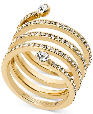 MICHAEL KORS Pave Crystal Twist Spiral Coil Ring Gold Tone Size 8 MKJ47227107
