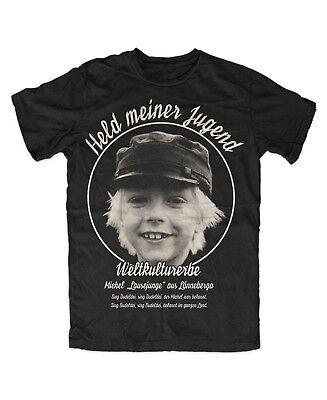 Schwarzes Retro-shirt (Michel T-Shirt SCHWARZ Weltkulturerbe Ostkult Retro Kinderidol Lönneberga )