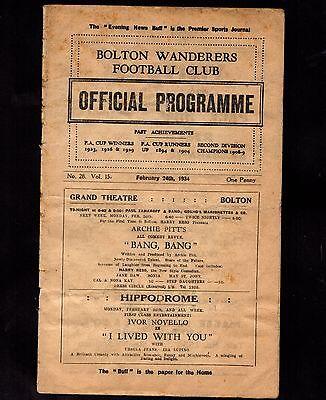 1933-1934 Bolton Wanderers v Preston North End   POST FREE
