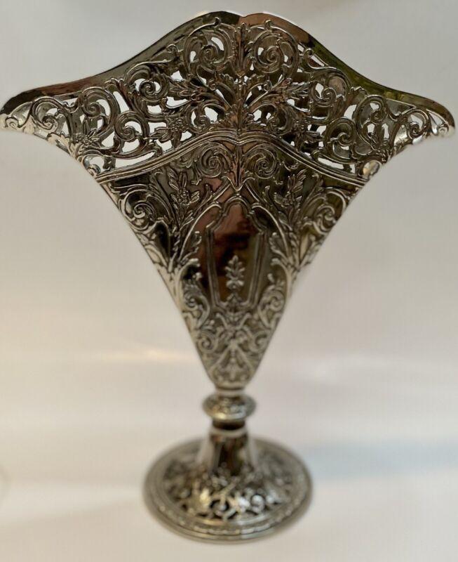 GSA Godinger Silver Art Ornate Silverplated Pierced Flat Fan Shaped Vase - 1991