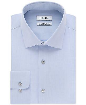 $176 CALVIN KLEIN Men REGULAR-FIT BLUE LONG-SLEEVE BUTTON DRESS SHIRT 16.5 34/35