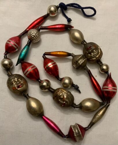 RARE! ANTIQUE GERMAN GLASS BEAD GARLAND - THREE DOUBLE FACE BEADS