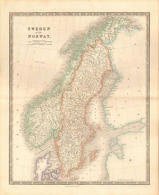 1843 ANTIQUE MAP- DOWER - SWEDEN AND NORWAY