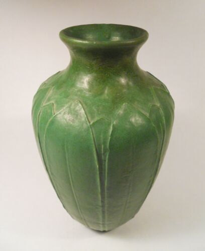 Grueby Faience Co. Vase with Leaves, Pre 1899 Wilhelmina Post Artist Signed