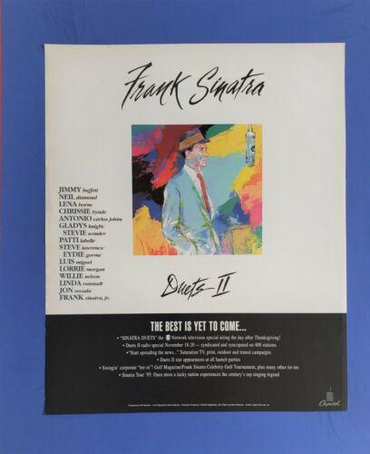 "ORG 1994 Frank Sinatra ""Duets II"" LeRoy Neiman Art PROMO Trade Ad"