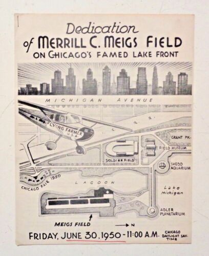 Vintage 1950 MEIGS FIELD CHICAGO Airport Dedication - Flying Farmers Maps Plans