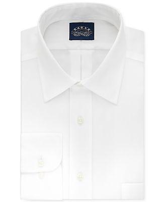 $99 EAGLE SHIRTMAKERS Men REGULAR-FIT WHITE LONG-SLEEVE DRESS SHIRT 16.5 34/35 L