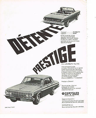 PUBLICITE ADVERTISING  1964   SIMCA CRYSLER   PLYMOUTH DART & (1964 Plymouth Fury)