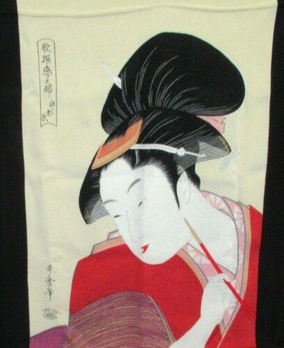 KITAGAWA UTAMARO JAPANESE GEISHA GIRL SILK TAPESTRY PAINTING SIGNED