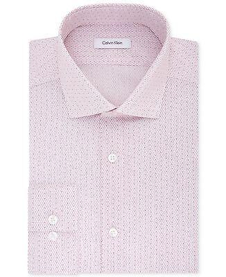 NWT $175 CALVIN KLEIN Men SLIM-FIT WHITE PINK LONG-SLEEVE DRESS SHIRT 16 32/33 L