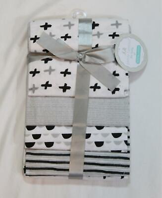 Petite L'Amour Infant 4 Pack Flannel Receiving Blankets SV3 Gray One Size