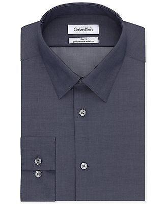 $175 CALVIN KLEIN Men SLIM-FIT BLUE LONG-SLEEVE BUTTON DRESS SHIRT 15.5 32/33 M