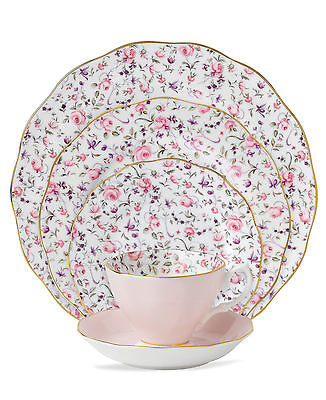 Selaed ROYAL ALBERT ROSE CONFETTI VINTAGE 5 PIECE PLACE SETTING CHINA MSRP $130