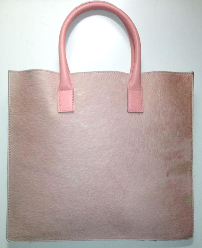 Vtg LAMBERTSON TRUEX Pink Ponyskin & Leather Envelope Bag Tote Handbag 12,13
