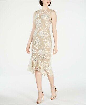 Calvin Klein NWT Elegant Cocktail KHAKI Floral Embroidery Sheath Dress size -