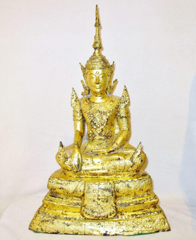 "Vintage ? Chinese Tibetan or Thai Gold Gilt Cast Metal Buddha  (19.5"")"