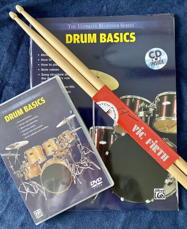 Ultimate Beginners Series Drum Basics DVD, Book & CD and Vic Firth drum sticks