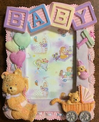 VINTAGE 3D GIRL PHOTO PICTURE FRAME- BABY BEAR NURSERY -NEW IN BOX