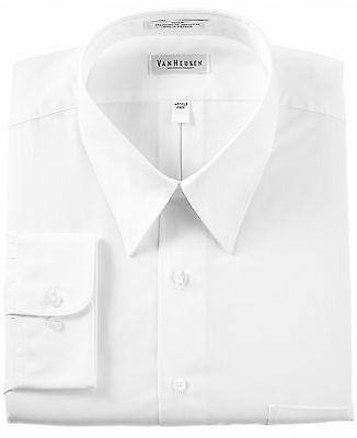 $85 VAN HEUSEN Men REGULAR FIT WHITE LONG-SLEEVE CASUAL DRESS SHIRT 16.5 34/35 L