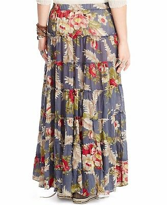 Denim & Supply Ralph Lauren Women's New Blue Floral Peasant Maxi Skirt X-Small