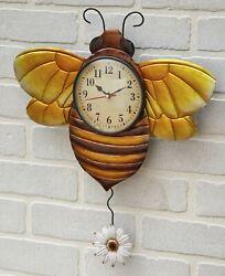 Metal Bumble Bee Pendulum Wall Mounted Clock - Indoor Gardening Accent