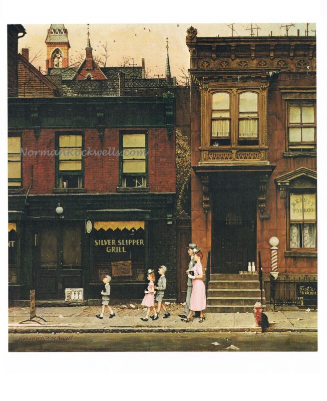 """Norman Rockwell family religion print: """"WALKING TO CHURCH"""" 11"""" x 15"""" Christian"""