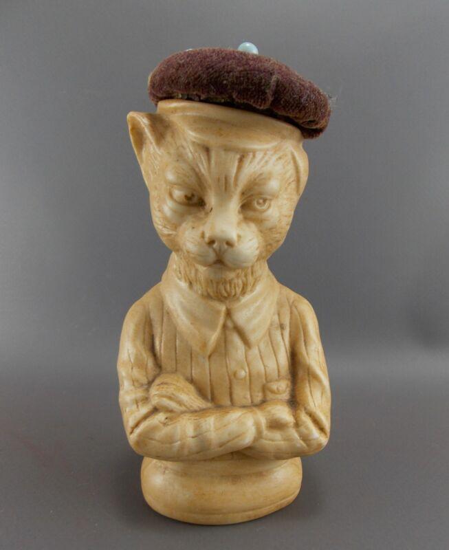VERY RARE FIGURAL CHARACTER ANTHROPOMORPHIC CAT PIN CUSHION