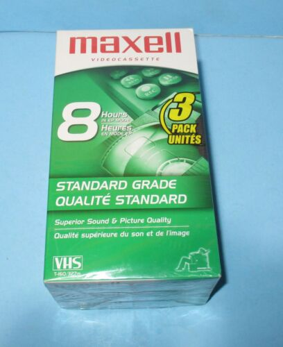 New Factory Sealed 3-Pack Maxell T-160 8 Hours VHS Blank VCR Video Cassette Tape