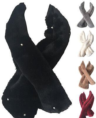 New Women Warm Winter Faux Fur Collar Long Scarf Stole Shawl Wrap Premium Made  Long Collar Scarf