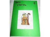 Christmas Card Completed Cross Stitch Mary /& Jesus 6x4/""