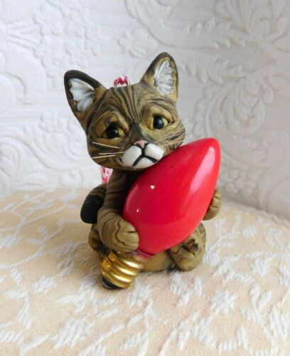 Tabby Cat lover Polymer Clay Ornament Sculpture by Raquel at theWRC OOAK