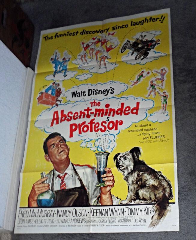 THE ABSENT-MINDED PROFESSOR original DISNEY one sheet movie poster SKYE TERRIER