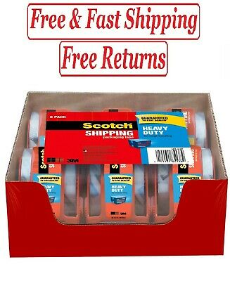 Scotch Heavy Duty Shipping Packaging Tape Dispensers 1.88 X 27.7 Yd 6 Pack