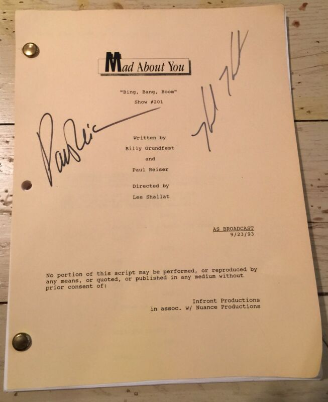 MAD ABOUT YOU TV SHOW SCRIPT W/ ORIGINAL SIGNATURES OF CAST STARS REISER & HUNT